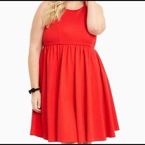 Torrid Ponte High Neck Skater Red Mini Dress